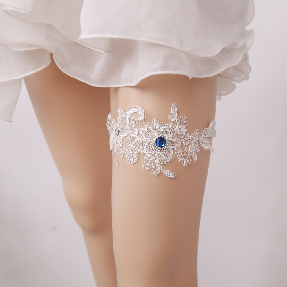 Lace Bridal Garter with a Rose Flower Decorated with Ribbons /& String of Pearls