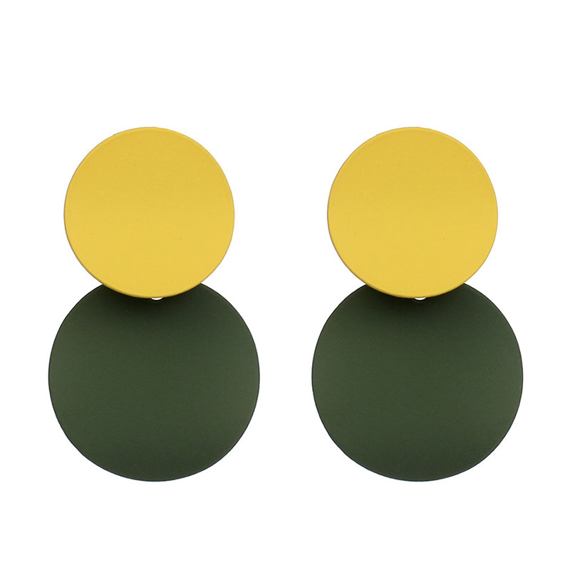 Yellow Green Color Metal Dangle Earrings For Women Christmas Anniversary Party Double Round Pendant Temperament Jewelry Brincos in Drop Earrings from Jewelry Accessories