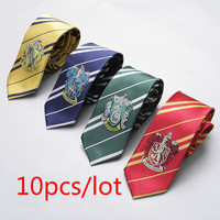 10pcs/lot Potter Tie Gryffindor/Slytherin/Hufflepuff/Ravenclaw Necktie ties College Style series gift for boys&girls school tie