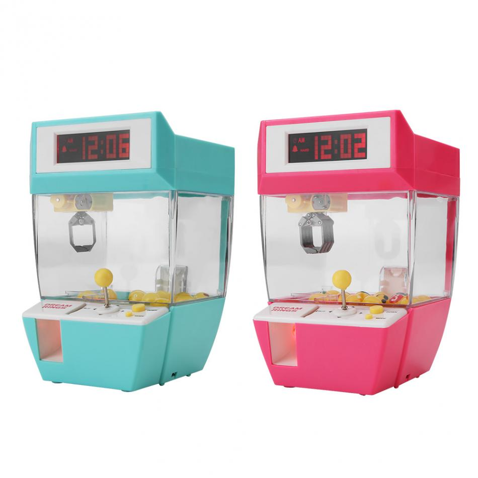 Grabber Claw Mini 2 in 1 Electronic Crane Machine Toy LCD Display Electronic Desk Table Watch Alarm Clock Gift For Kid Children composite suite new toys dolls crane claw machine excavator simulation vending machine for sale gift machine in operated coins