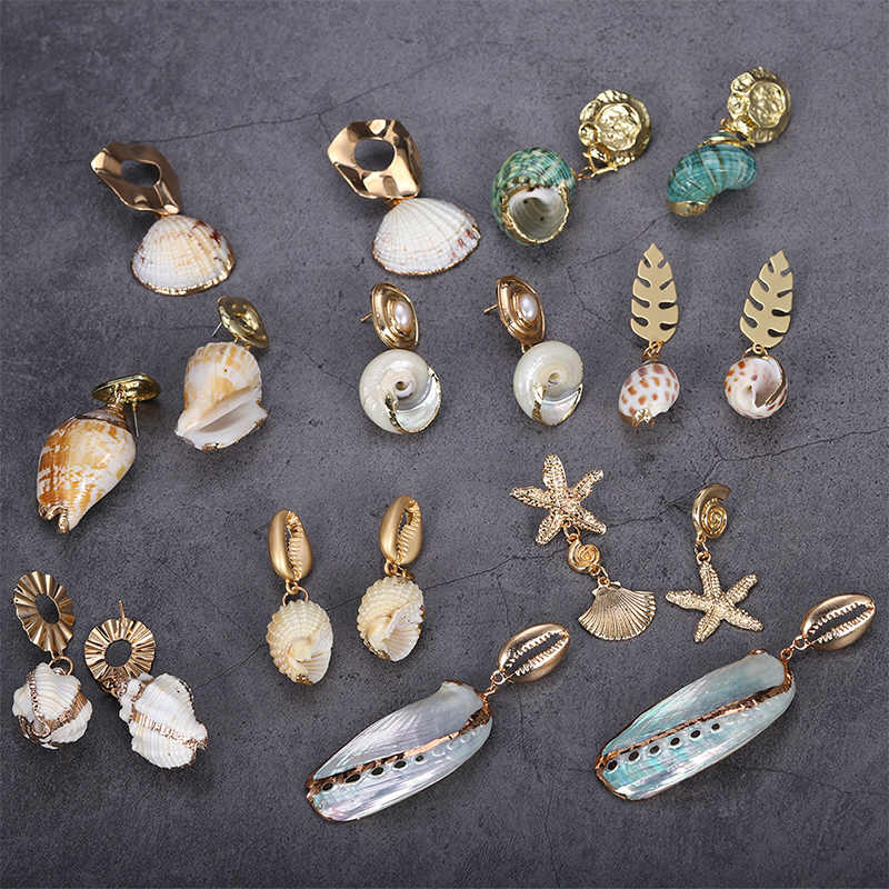 Conch Irregular Summer Bohemian Earrings Women Vintage Starfish Fashion Geometric Dangle Jewelry Shell Drop Earrings Beach