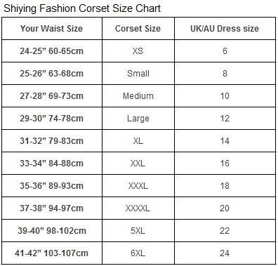 Shiying Fashion Corset Size Chart