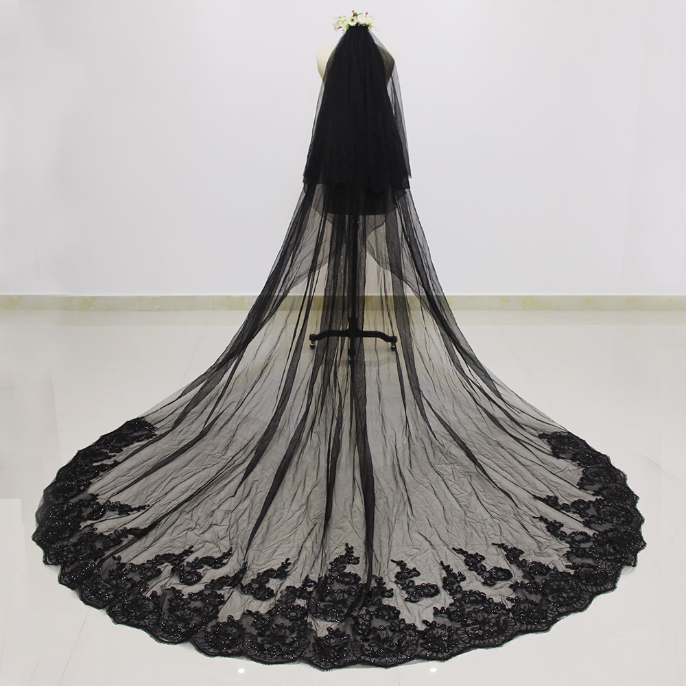 Two Layers Sequins Lace Edge 3 Meters Black Long Wedding Veil with Comb 2T Bridal Veil Voile Mariage 2019