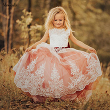Princess Flower Girl Dress for Wedding Kids Lace Beaded Pageant Ball Gowns недорого