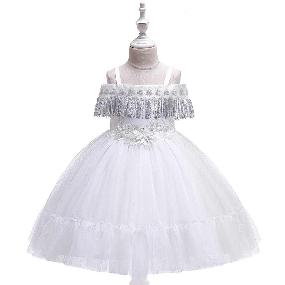 White   Flower     Girls     Dresses   for Wedding 2019 Spaghetti Straps First Communion   Dresses   Little   Girls   for Evening Party Gowns
