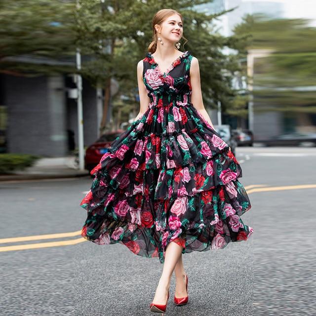10c662adafad6 US $69.59 13% OFF|HIGH QUALITY New Fashion 2019 Designer Runway Dress  Women's Sleeveless Rose Print Cascading Ruffle Dress-in Dresses from  Women's ...