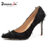 Donna in Women Silk Pumps High Heels Women Pumps Sexy High Fashion Pointed Toe Party Shoes Women Size 45 Real Leather Lining