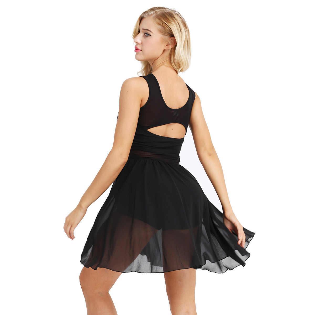バレエレオタード女性のための大人のバレエドレス非対称シフォンバレエダンス体操レオタード女性ドレスバレリーナ