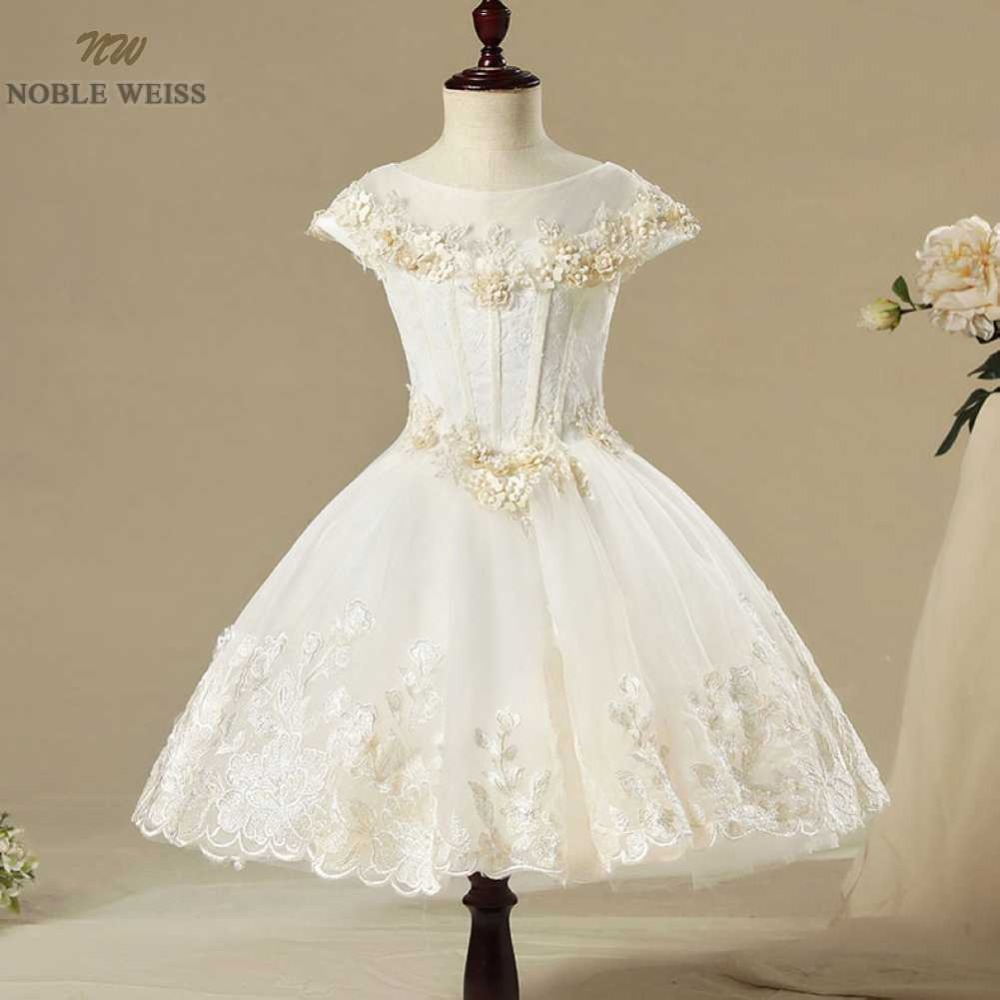 NOBLE WEISS Tulle Pageant Dresses for girls O-Neck Formal Knee-Length Appliques Flower Customize Flower Girl Dress