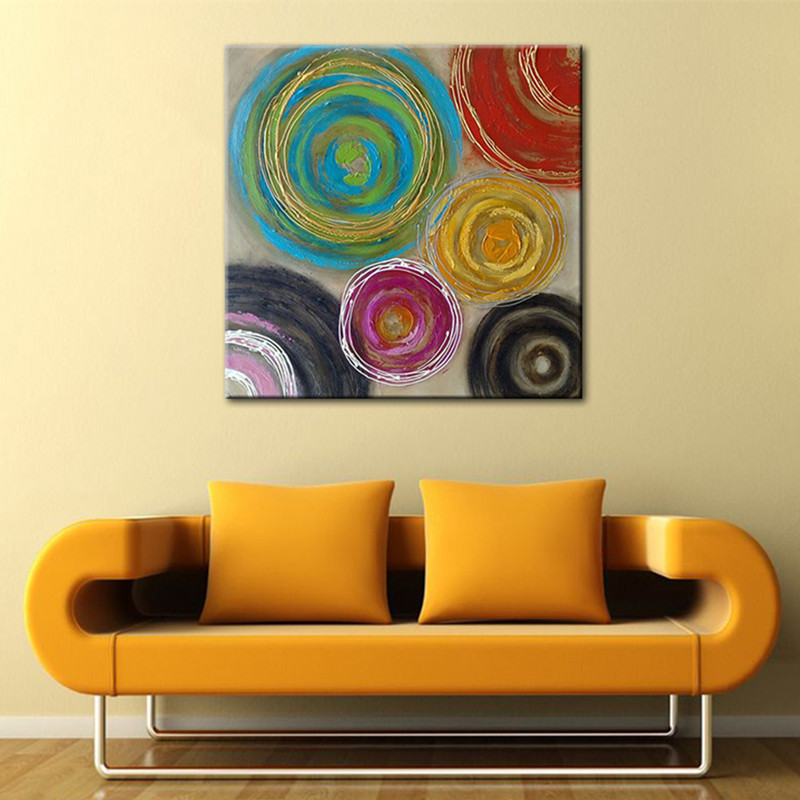 Large Oils Pictures Wall Art Handpainted Abstract Graffiti Circles ...