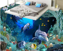 3D seabed cave dolphin coral tiles floor painting bedroom bathroom living room 3d waterproof self-adhesive wallpaper coated pape