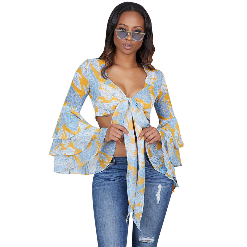 Floral Print Chiffon Blouse Women's Tops and Blouses Long Flare Sleeve Boho Summer Crop Tops for Women 2018 Ladies Bow Tie Shirt