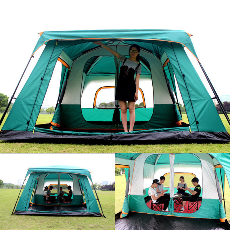 Tent 8 12 Person outdoor New big space camping outing two bedroom tent ultra large hight quality waterproof camping tent in Tents from Sports Entertainment