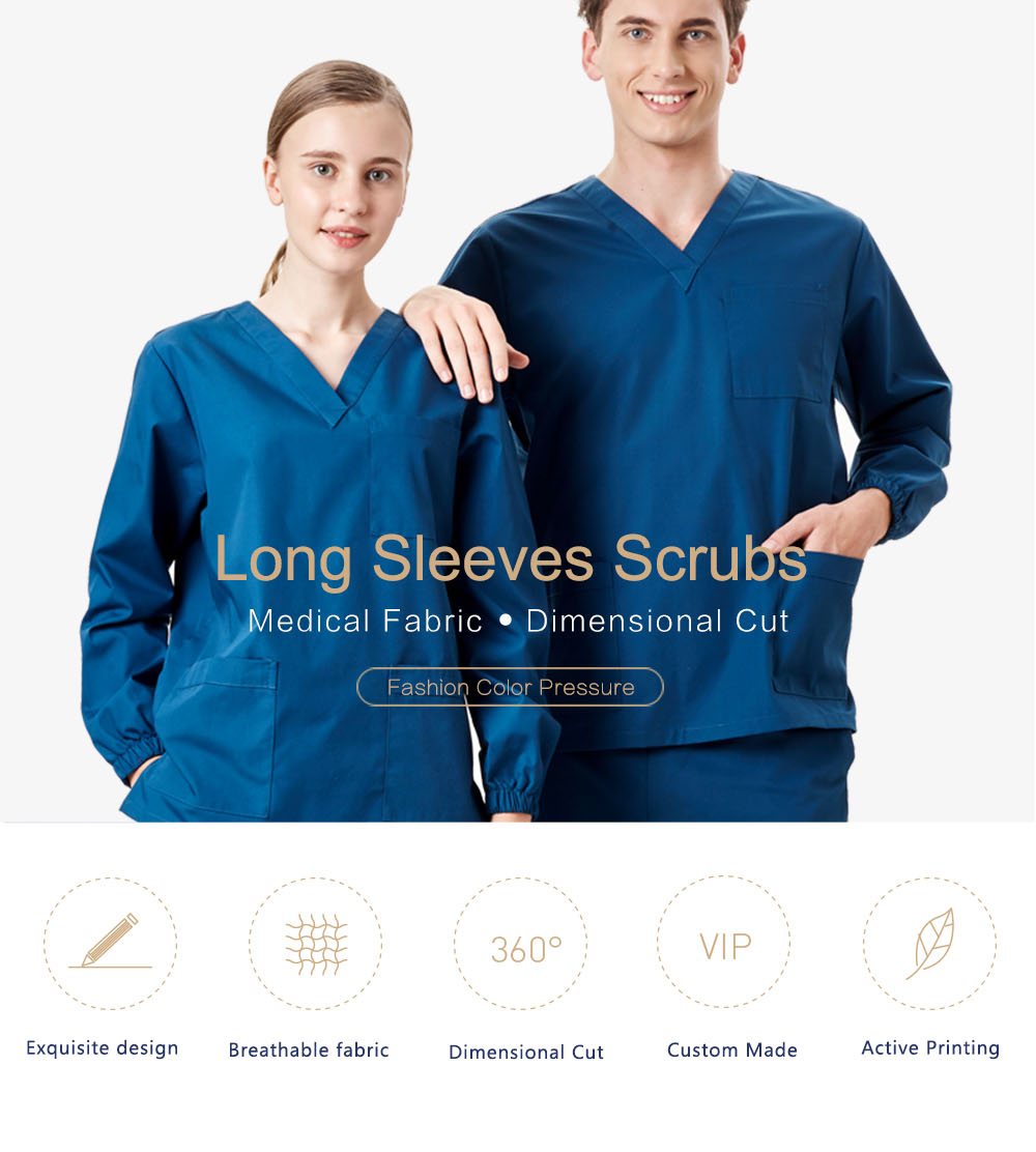 9490b2029b2 Winter Long Sleeves Hospital Nursing Uniform Overall Medical Cotton Spandex Scrubs  Women Man Surgical Suit Outfit Outwear