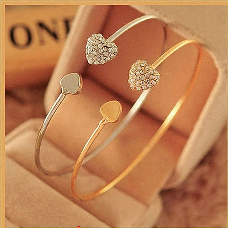 2019 New Fashion Adjustable Crystal Double Heart Bowknot Wrap Bracelets Women Jewelry Gift Wholesale