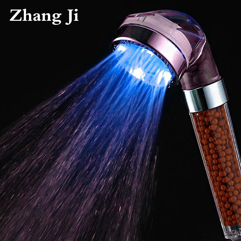 ZhangJi Spa 3 color LED bath shower water temperature led shower head led light shower head mineral filtered stones shower head