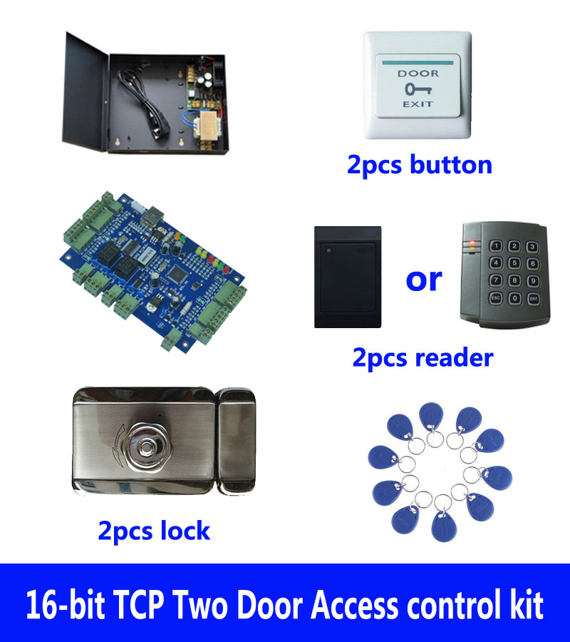 RFID card access control kit,TCP two door access control+powercase+intelligent mute lock+ID reader+button+10 ID tags,sn:kit-B209