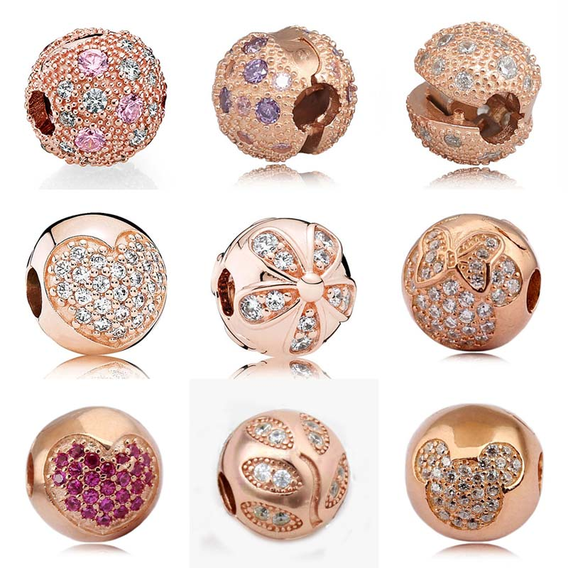 Rose Gold Pave Cosmic Stars Love Heart Crystal Clip Lock Stopper beads Fit Pandora Bracelet 925 Sterling Silver Charms Jewelry