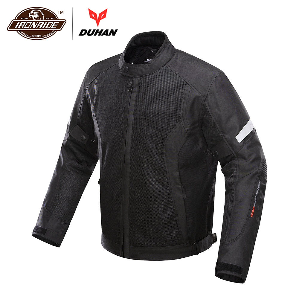 New DUHAN Summer Breathable Mesh Motorcycle Jacket Motocross Racing Jackets Motorcycle Body Protective Jacket for Men D-201B