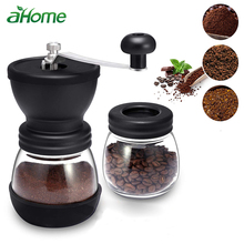 Manual Coffee Bean Grinder with Ceramic Burrs Hand Coffee Mill with Two Glass Jars Washable Adjustable Grain Mills