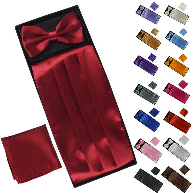Cummerbunds do homem + Bow tie + Bolso quadrado Define Homens Moda Poliéster Sólidos Praça Bowtie Pocket para Festa de Casamento caixa de Embalagem