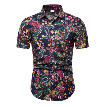 2019 New Summer Mens Short Sleeve Beach Hawaiian Shirts Cotton Casual Floral Shirts Camisa Masculina Regular Plus Size 5XL  TC