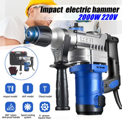 2000W 220V Heavy Impact Electric Hammer Concrete Breaker Electric Drill Industrial Power Tools Concrete Impact Drill Power Tools