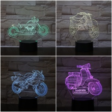 Table Night Lamp Bedroom Motorcycle Lampara Multicolor RGB Childrens Kids Baby Gifts Led Light 3d Illusion Motorbike