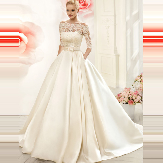 a20688d2f74b A Line Satin Wedding Dresses 2016 With Lace Jacket See Though Court Train  Bridal Wedding Gown