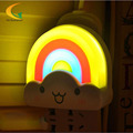 baby room LED Colorful Rainbow Wall Sticker Night Light 110V 220V Sound Sensor Lamp children room light nightlight
