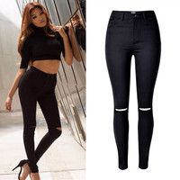 2016 Gorące Panie Cotton Denim Spodnie Kobiet Ripped Stretch Czarny Wysoka Talia Denim Jeans Dla Kobiet American Apparel Stylu