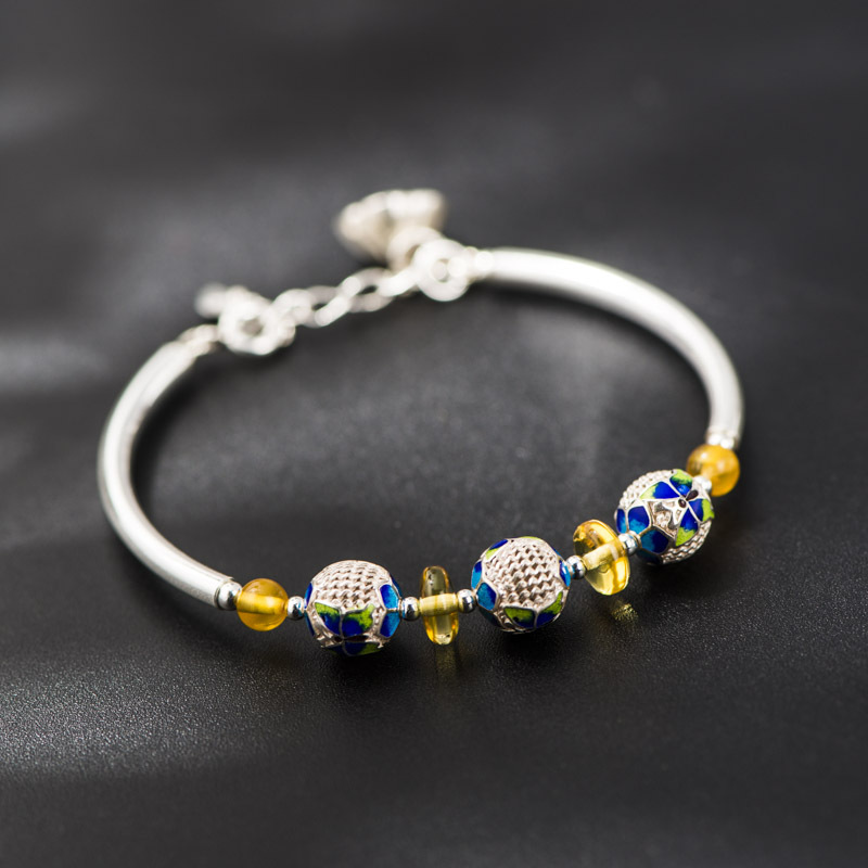 Starfield 925 Silver Jewelry Bracelets Cloisonne Crafts Butterfly Amber Beads Design Bracelet Models