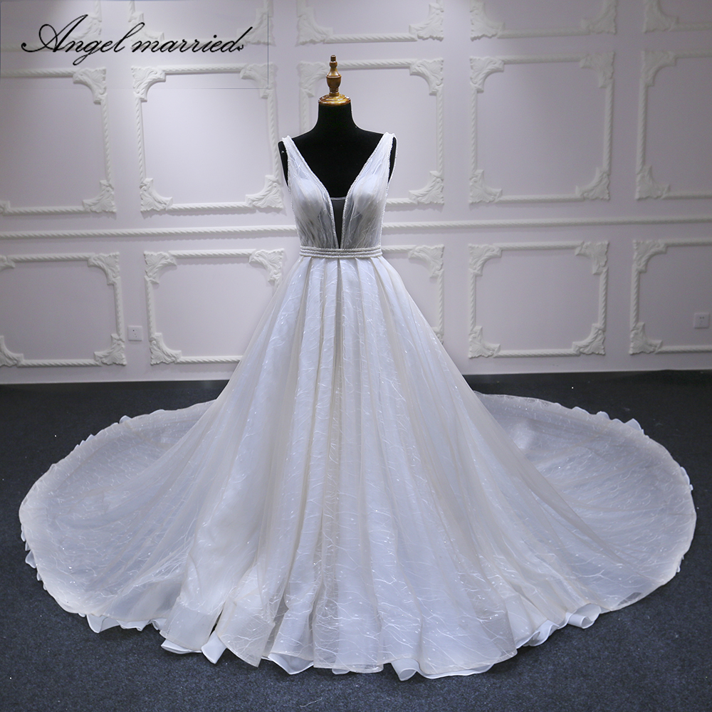 Angel married wedding Dress low v neck wedding gown with long tail lace bridal dress wedding party dress vestidos de novia