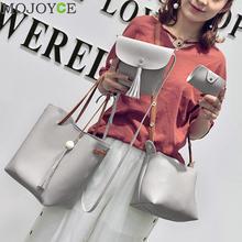 4pcs/Set Fashion Women Composite Bag Tassel Pure PU Leather Shoulder Bag Women Clutch Handbag Set Large Tote Female Shopping Bag