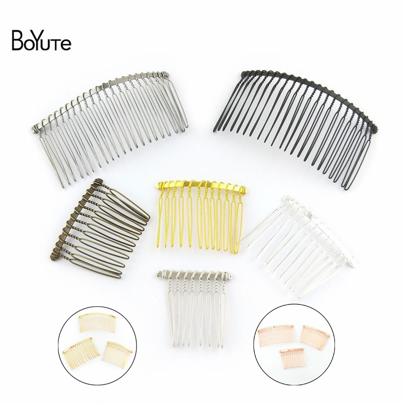 BoYuTe 10Pcs Metal Wire Hair Comb Base 8 Colors Plated Diy Hand Made Women's Hair Jewelry Accessories
