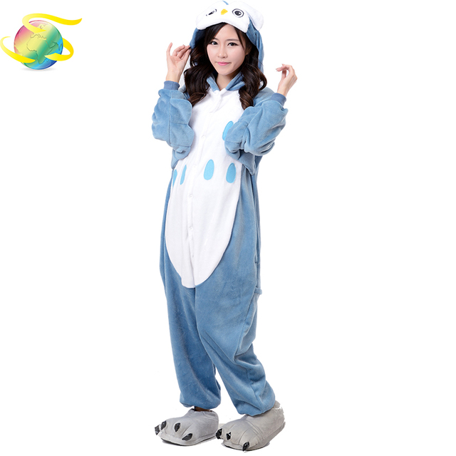 5fbeb2771466 Животные Сова Onesie для старших подростков женские пижамы кигуруми  фланелевые теплые мягкие комбинезоны сдельный купальник мужские комбине