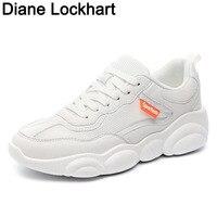 Women Shoes off White Vulcanize Sneakers 2019 New Women's Casual Platform Shoes Ladies Flat Footwear Air Mesh shoe laces