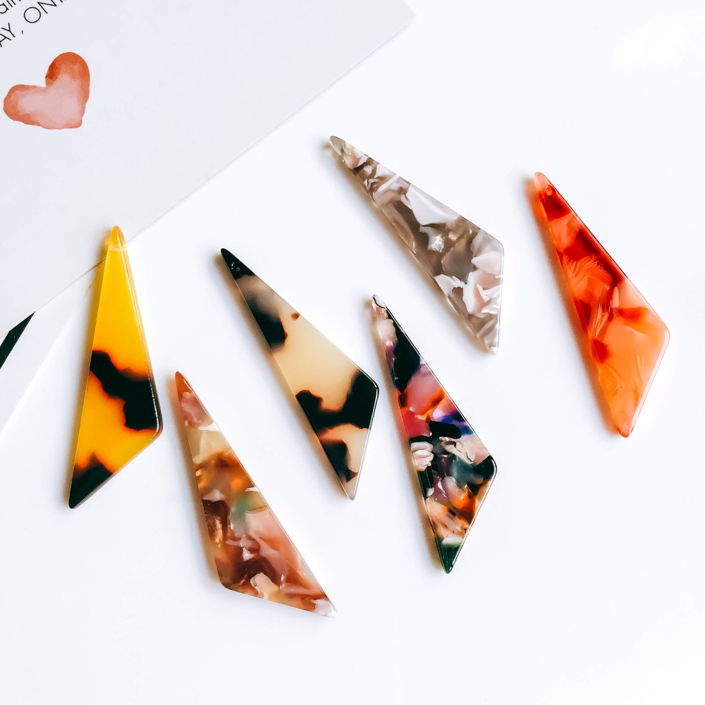 ZEROUP Eardrop 6 Colors Triangle Earring Accessories Pendant Necklace Charms Diy Handmade Material 6pcs