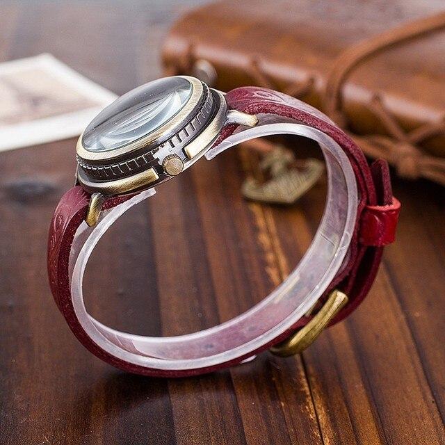 CCQ Brand Vintage Cow Leather Bracelet Watch Women Flower Engraved WristWatch Casual Luxury Quartz Watch Relogio Feminino