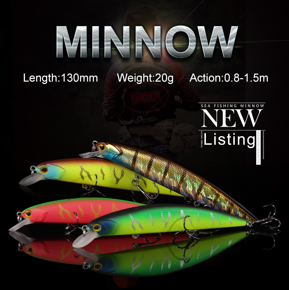 _01 Sea Fishing Lures Artificial Minnow Decoy 130mm 20g Wobblers Topwater Floating 0.5m-1.5m Plastic Lip Bass Pike Hard Jerkbait3523