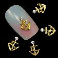 Hot item! 10 Pcs Anchor Nail Sticker Rhinestone Jewelry 3D Nail Art Decor Studs Manicure Tool