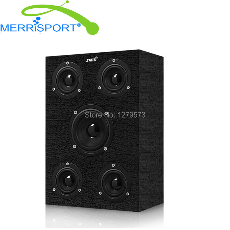 MERRISPORT Multimedia Speaker 5-Way Hi-Fi Wood Speakers for Samsung, Cellphone, PC, Computer, MP3 players, Tablets, Studio Black