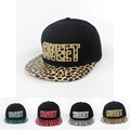 Fashion Women Men leather leopard visor hip hop hat adjustable snapback hat Baseball Cap