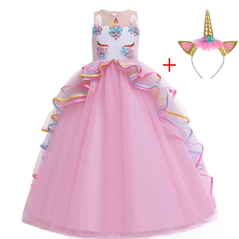 Eenhoorn Partij Kinderen Jurken Voor Meisjes Lange Prinses Jurk Kinderen Carnaval Kostuum Bloem Meisjes Bruiloft Dress4 6 8 10 12 14 jaar