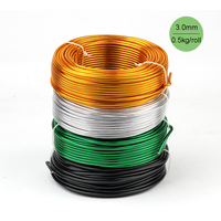 Wholesale 0.5kg Anodized Artistic Aluminum Craft Wire 3.0mm 9 Gauge 25m Colored Jewelry Soft Metal Wire Permanent Colors