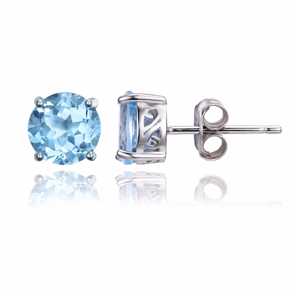 JewelryPalace Round 2ct Natural Sky Blue Topaz Birthstone Stud Earrings 925 Sterling Silver tnErV1t