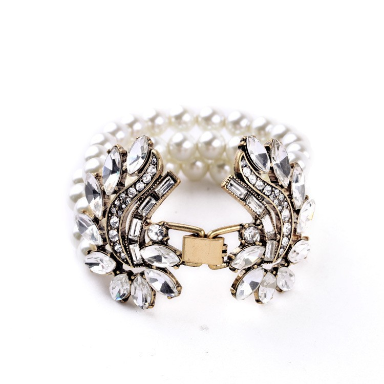 Aliexpress Best Seller Turkish Wedding Jewelry New Arrival Hot Sale Beads Wide Simulated Pearls Bracelet China Factory