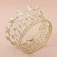Свадебное платье невесты Star женщин, девочек золотые кристалл тиара Корона оголовье волос Группа головной убор