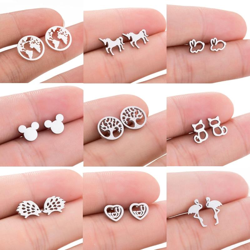 Jisensp Stainless Steel Cartoon Mickey Stud Earrings For Women Fashion World Map Earrings Jewelry Simple Animal Earings Gift
