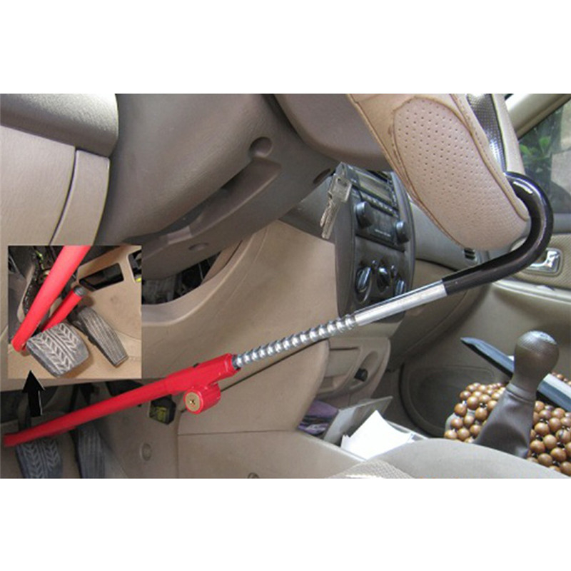 Encell TS20 Universal Car Folding Steering Wheel Lock Red Stainless Steel Alloy Car Parking Safety Styling